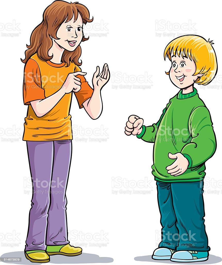 Happy Boy and Girl royalty-free stock vector art