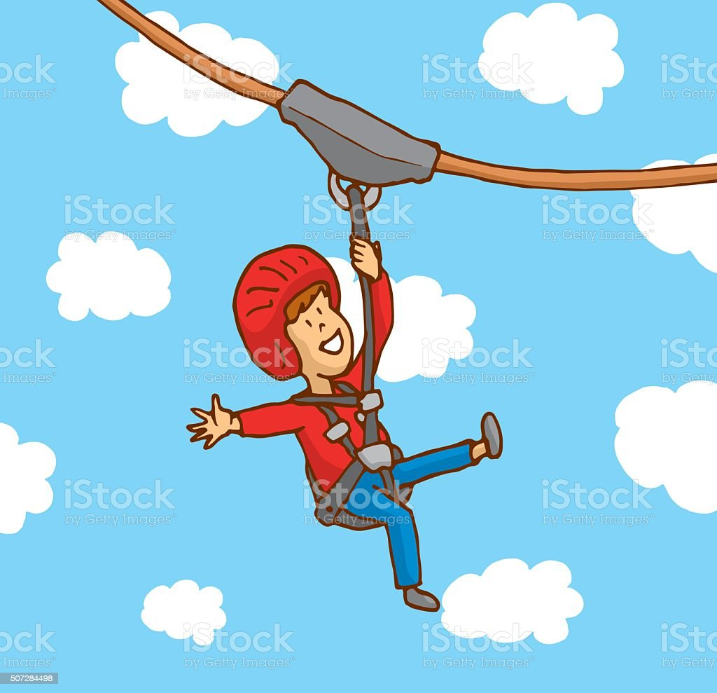 Happy boy enjoying a zipline vector art illustration