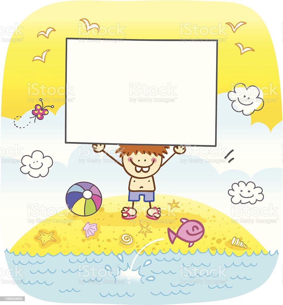 happy boy holding banner at beach cartoon illustration royalty-free stock vector art