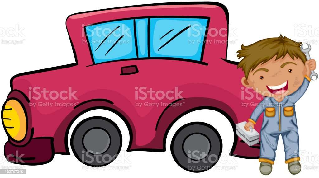 happy boy holding his tools in front of pink car royalty-free stock vector art