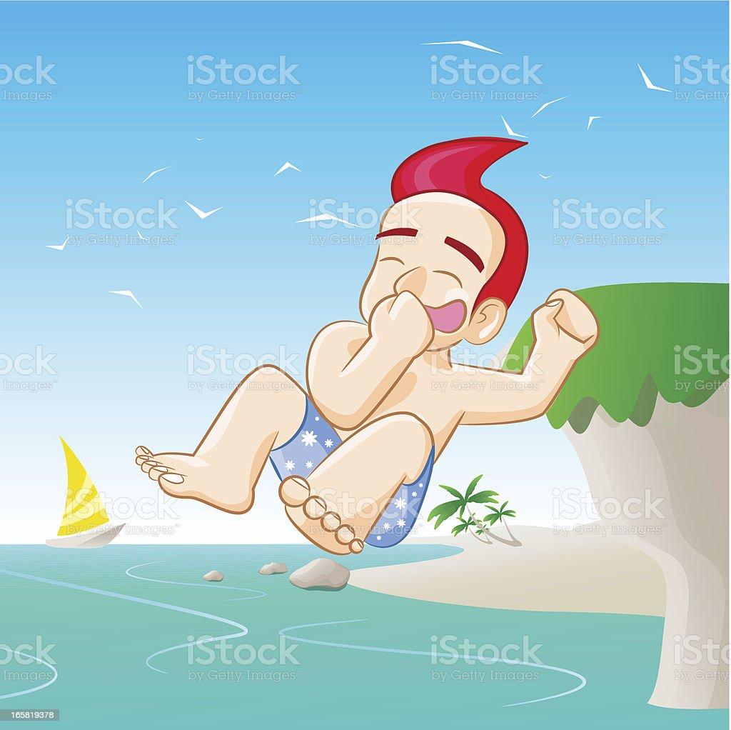 Happy Boy Jumps into the Sea vector art illustration