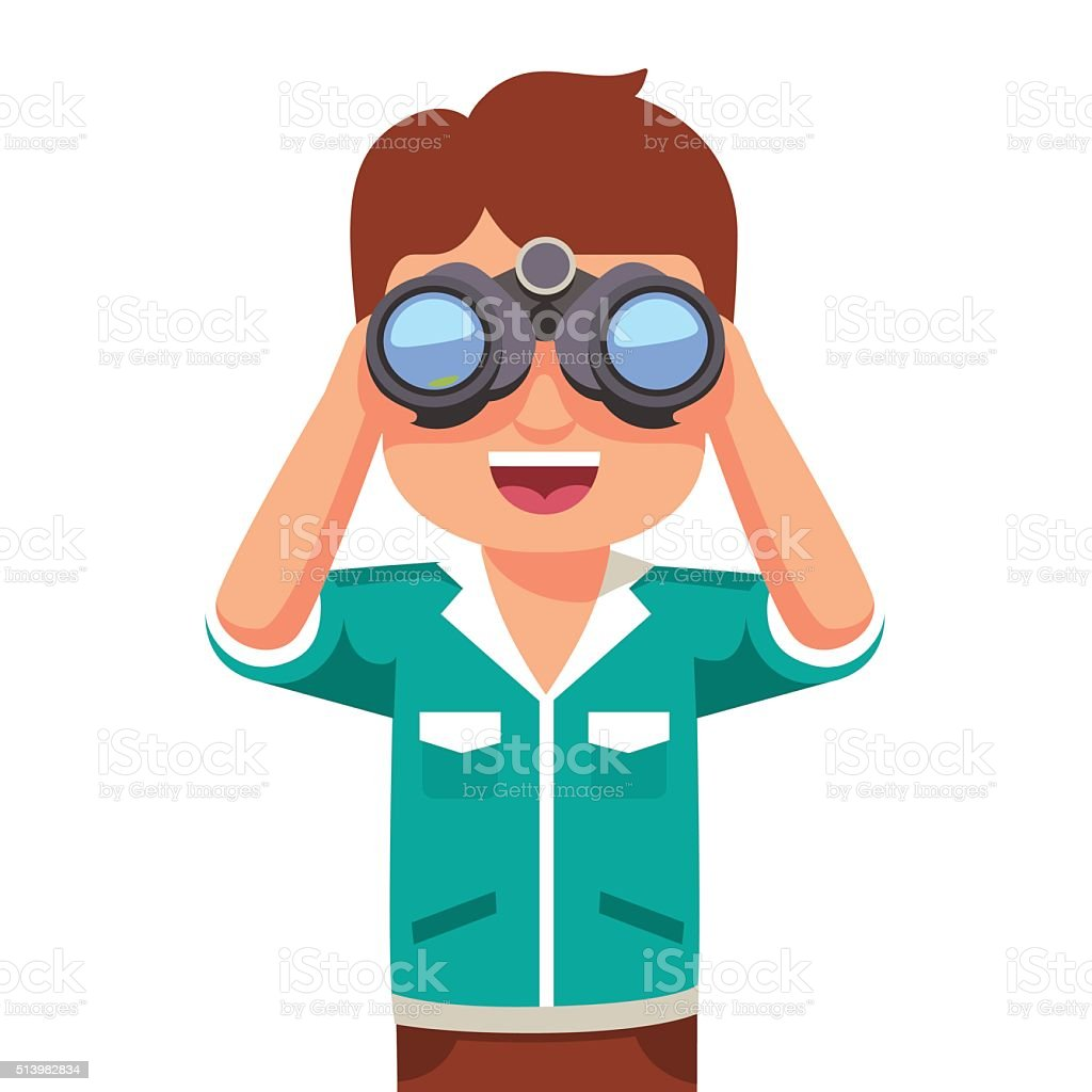 Happy boy kid looking through binoculars vector art illustration