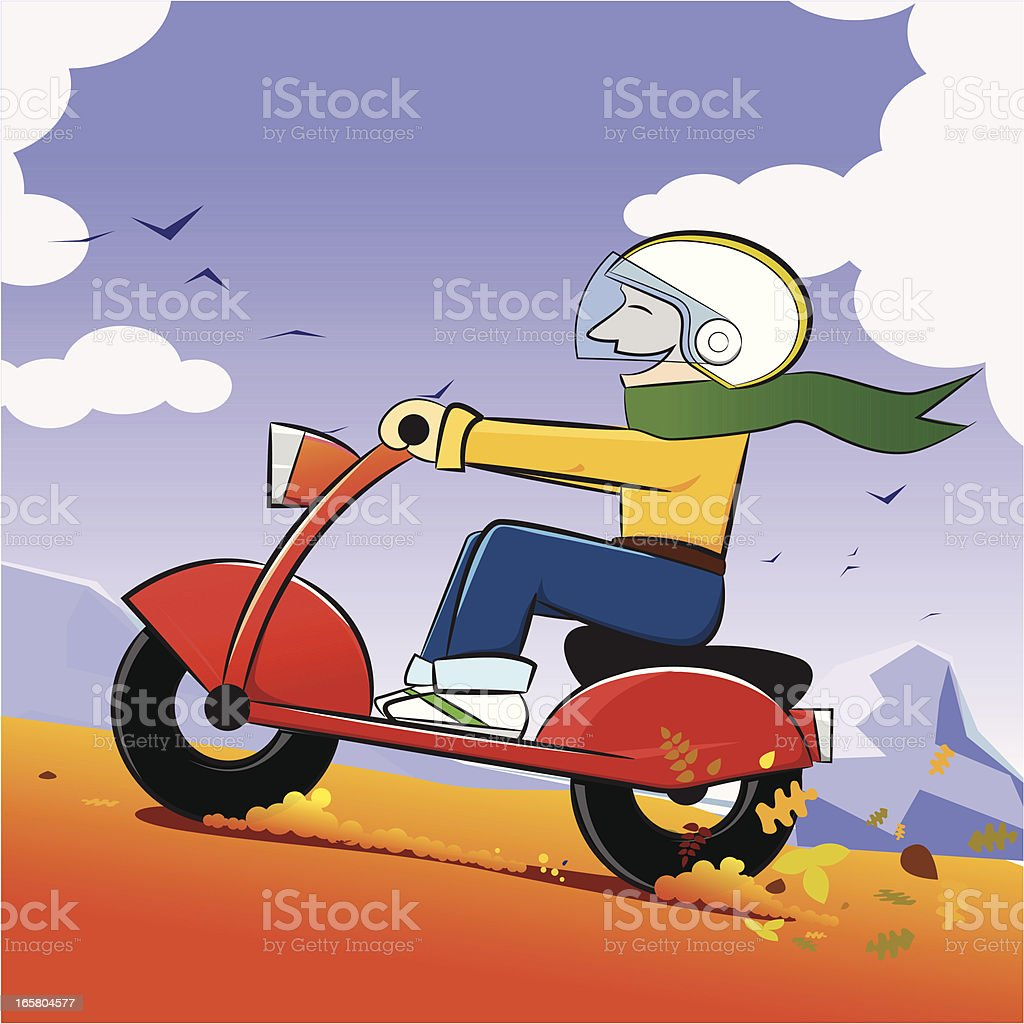 Happy Boy on the Motor is Travelling in Autumn vector art illustration