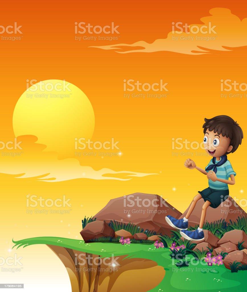 happy boy sitting at the big rock near cliff royalty-free stock vector art