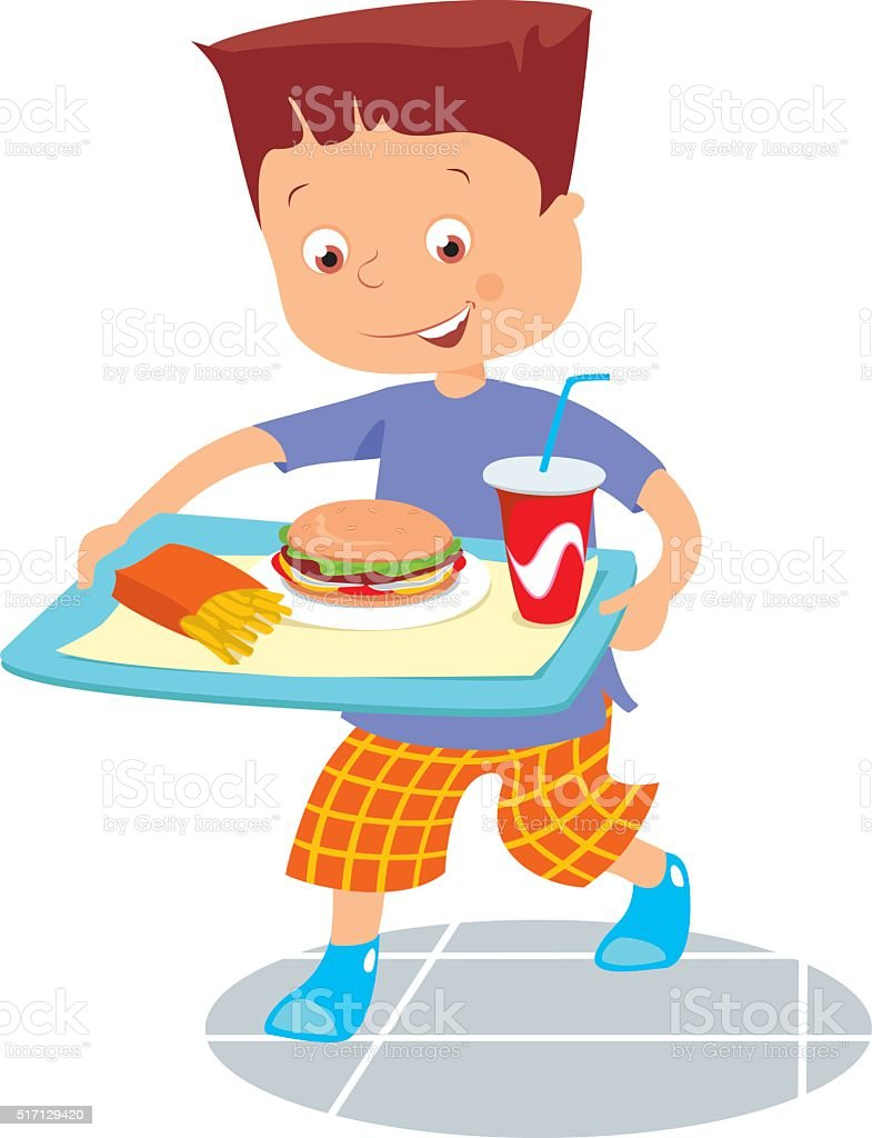 happy boy with fastfood vector art illustration