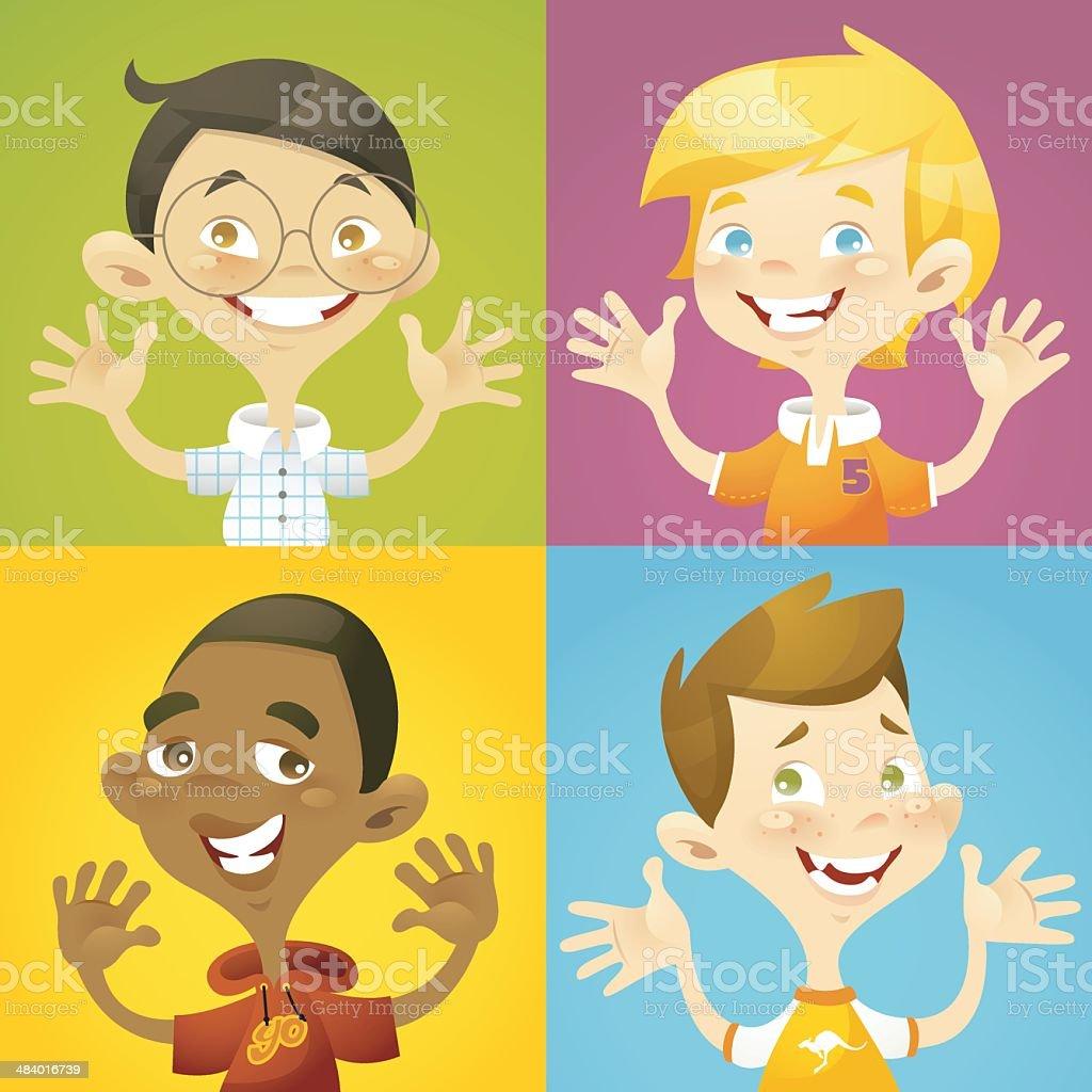 Happy Boys royalty-free stock vector art