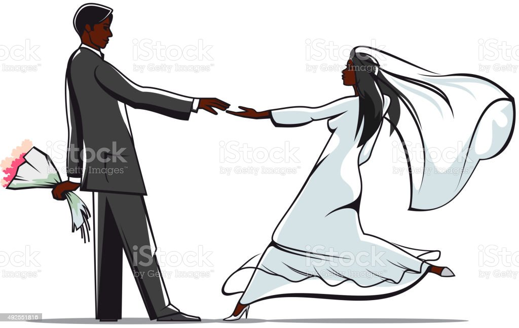 Happy bride and groom joining hands vector art illustration