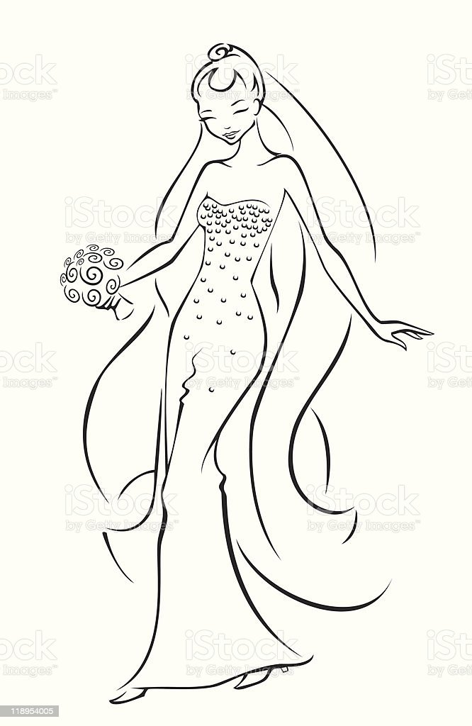 Happy Bride vector art illustration