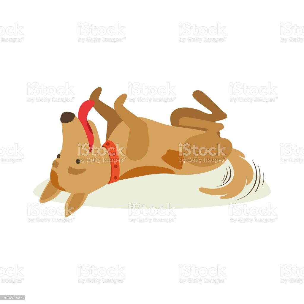 Happy Brown Pet Dog Rolling On The Back , Animal Emotion vector art illustration
