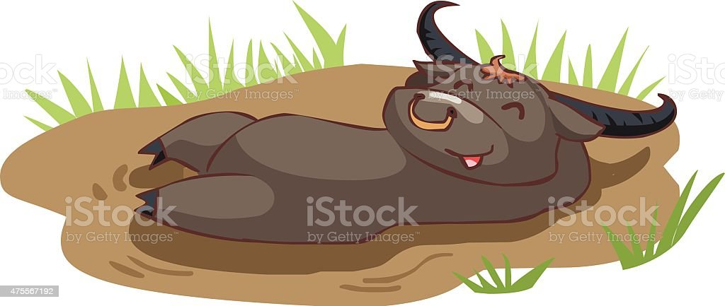 happy buffalo take a bath in mud vector vector art illustration