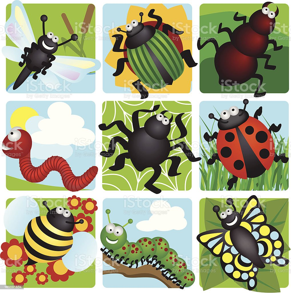 Happy Bugs royalty-free stock vector art
