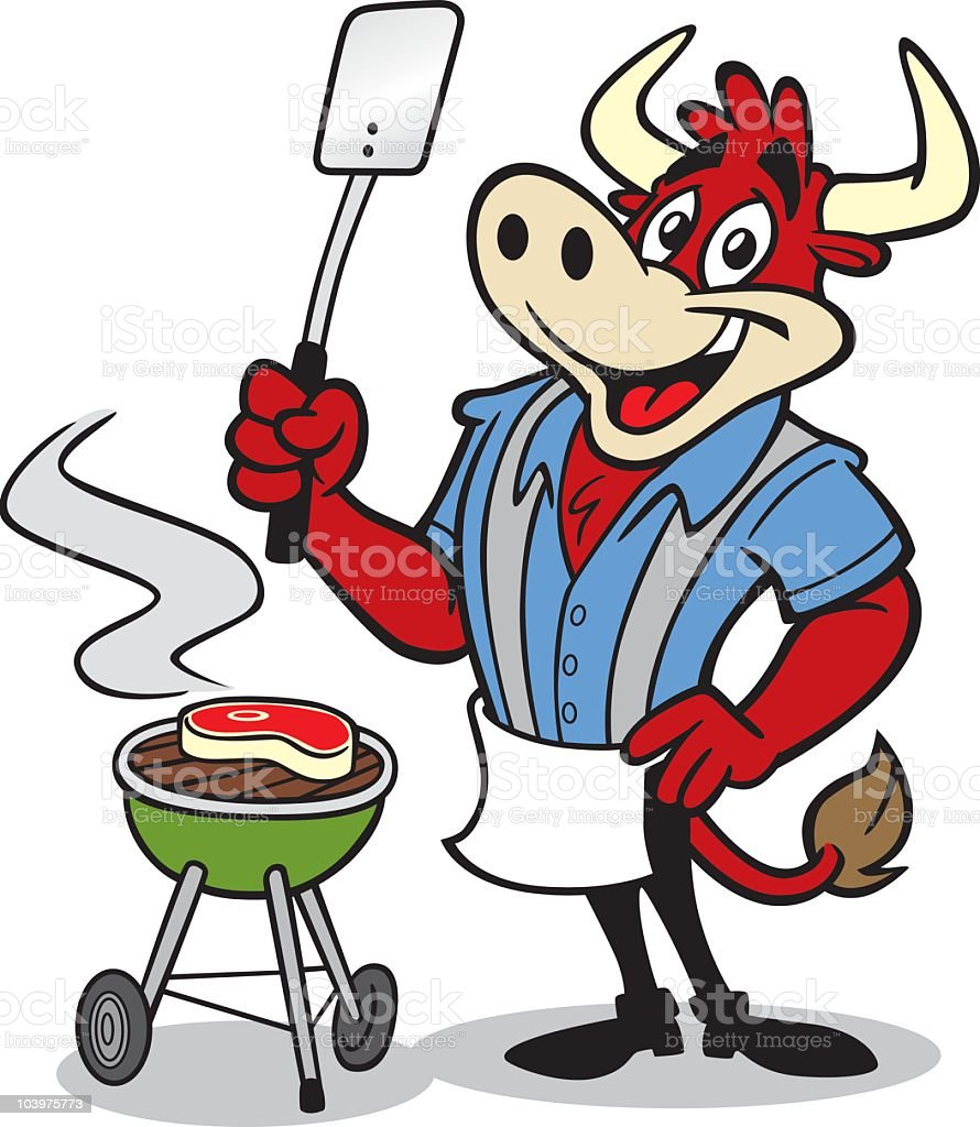 Happy Bull Cooking at Barbecue vector art illustration