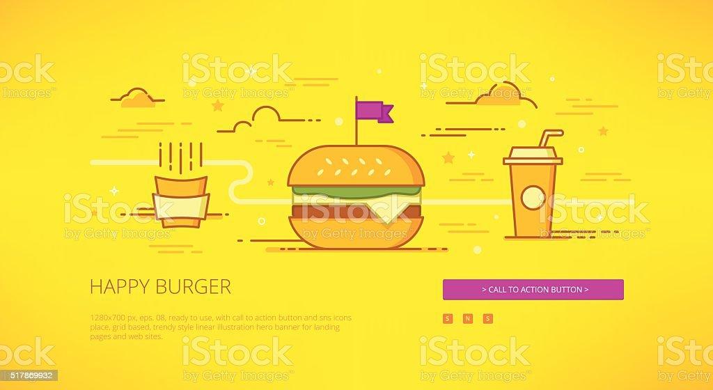 Happy Burger linear web-banner illustration vector art illustration