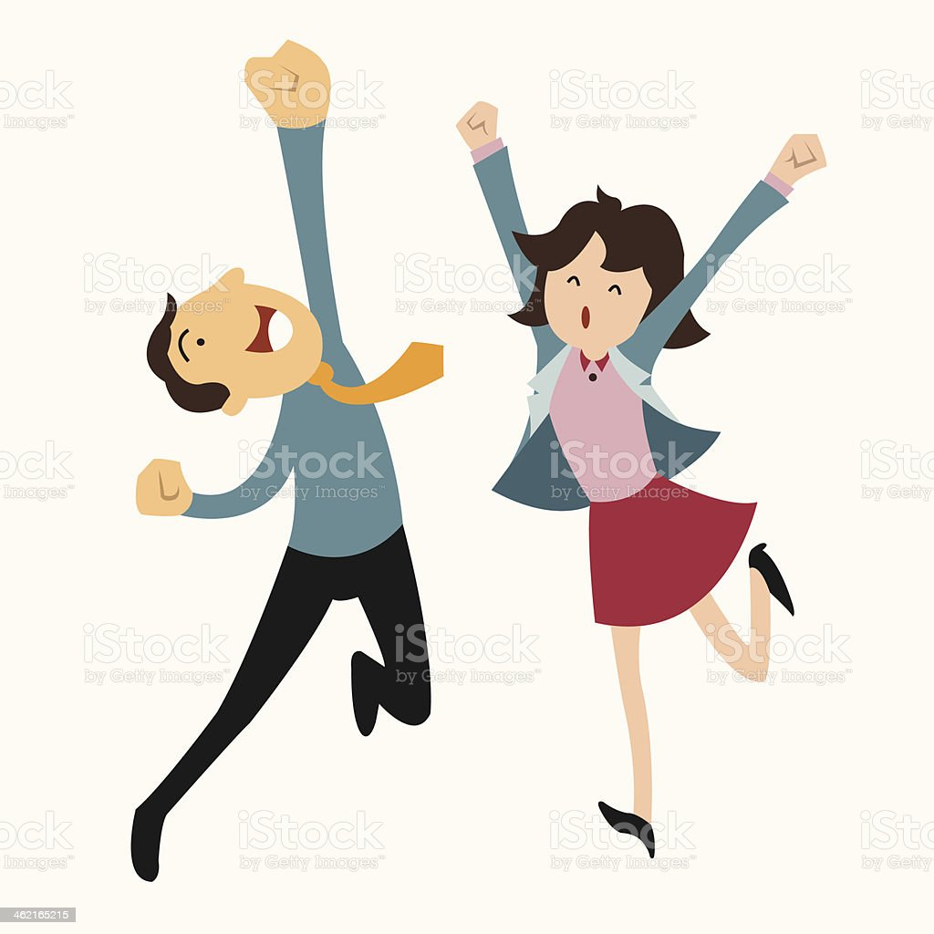 Happy business man and woman vector art illustration