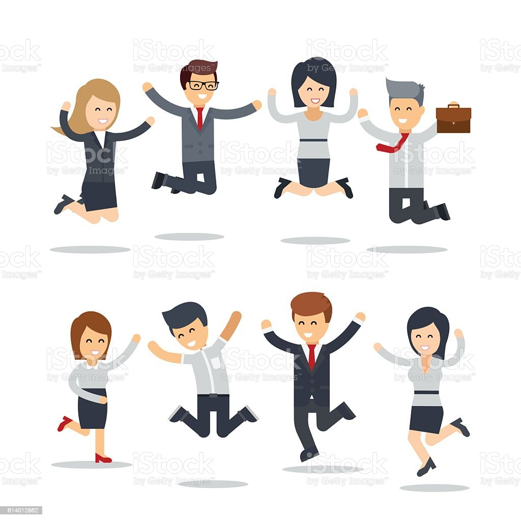 Happy business people jumping vector art illustration