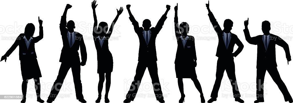 Happy Business People vector art illustration
