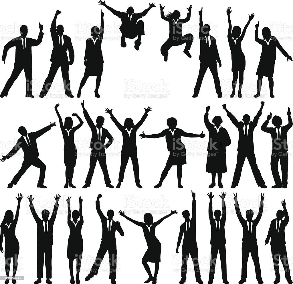 Happy Business Silhouettes vector art illustration