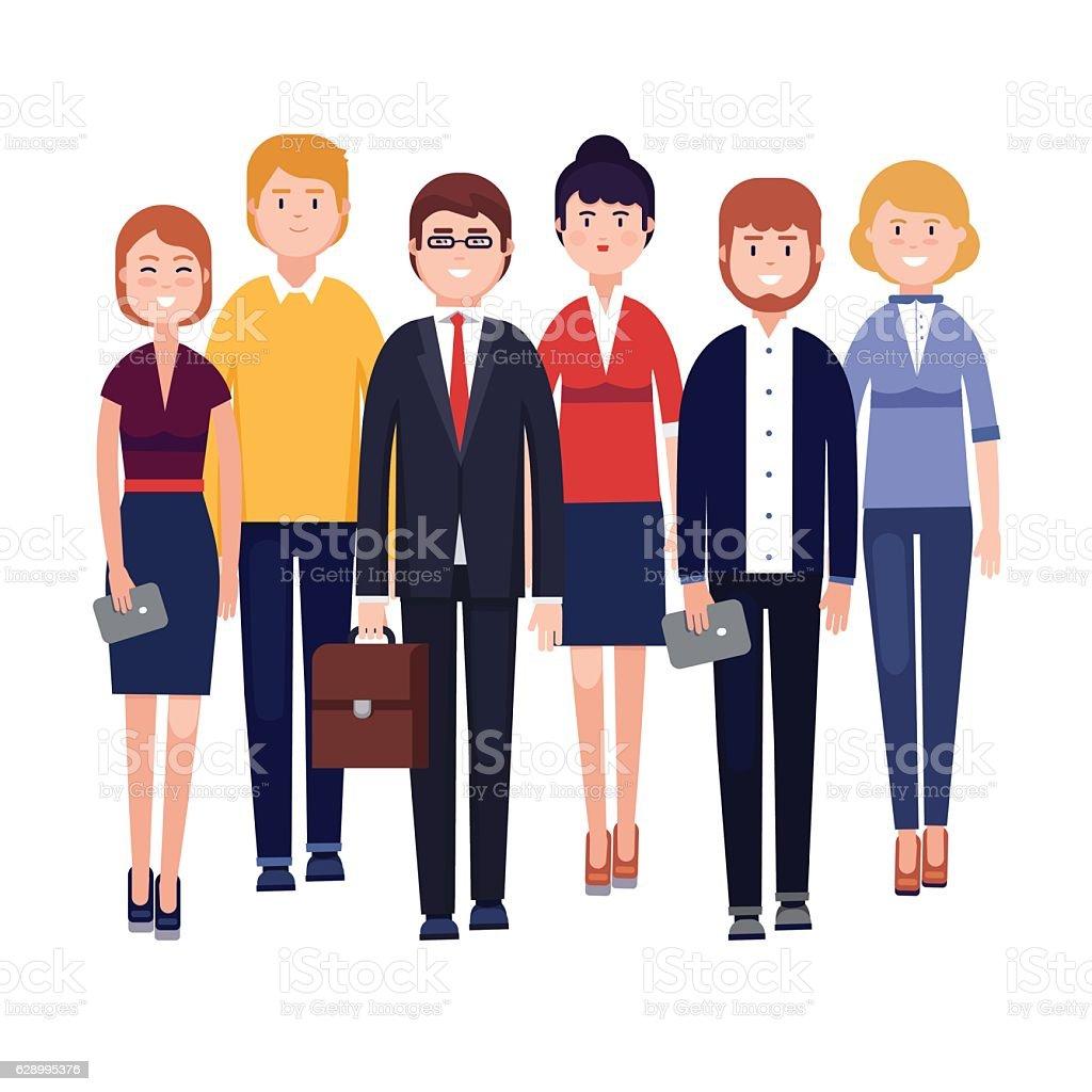 Happy business team vector art illustration
