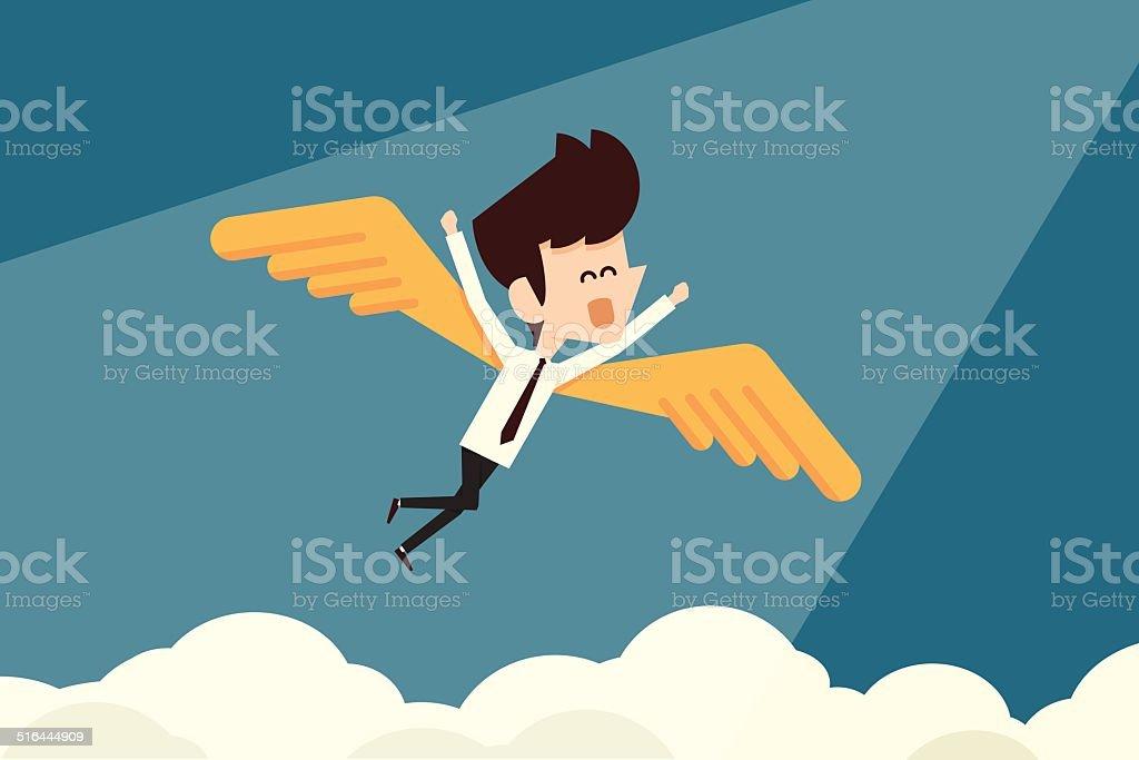 Happy businessman and freedom vector art illustration