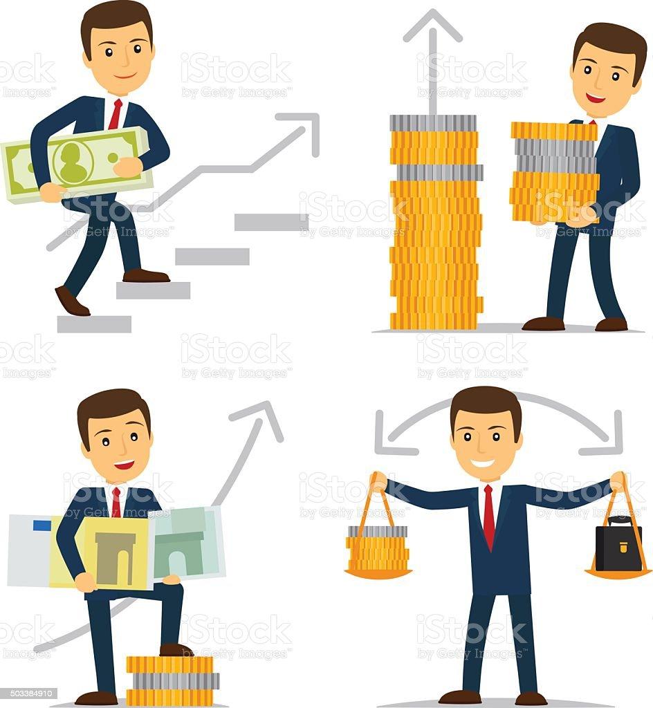 Happy businessman and money vector art illustration