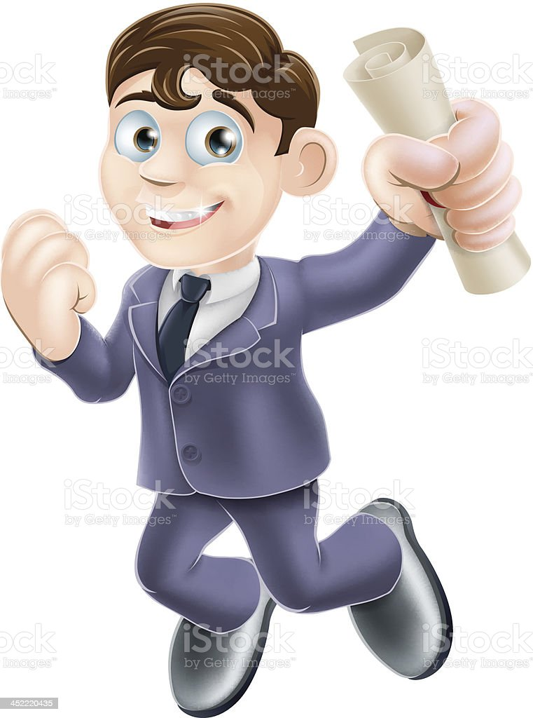 Happy businessman and scroll royalty-free stock vector art