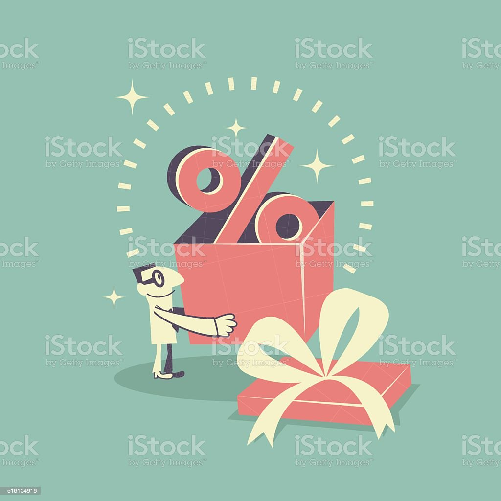 Happy businessman carrying (holding) gift box with Percent symbol (sign) vector art illustration