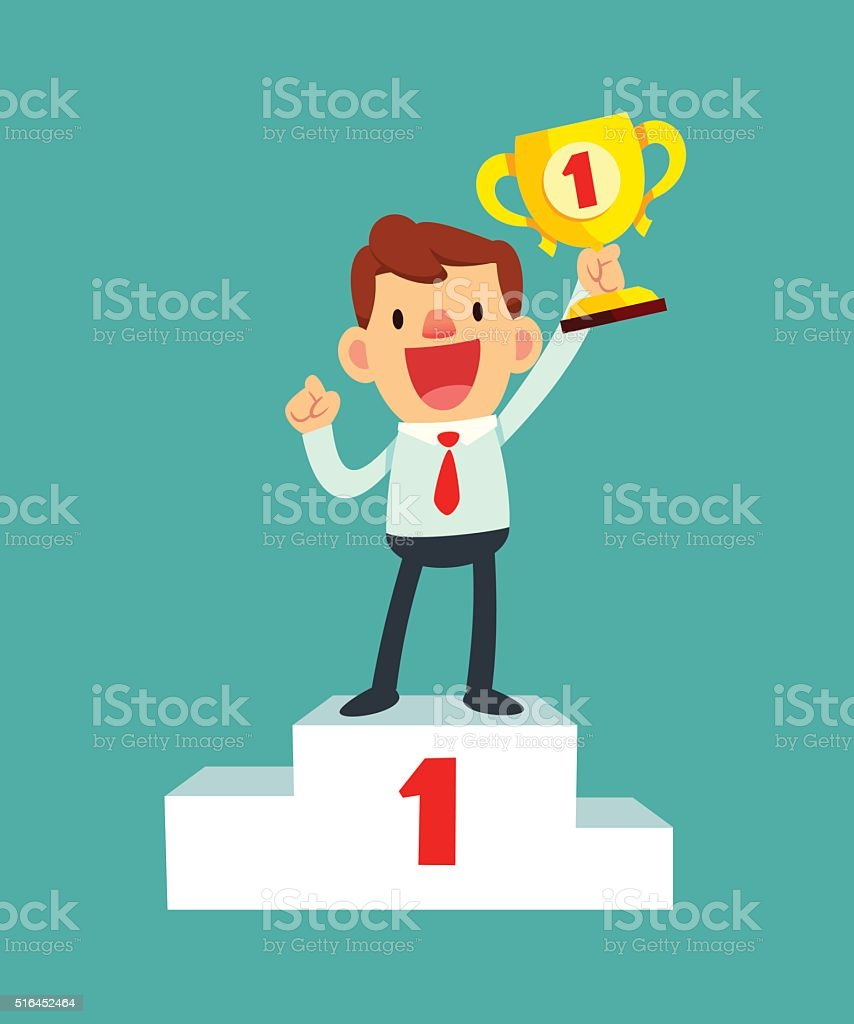happy businessman holding a trophy on podium vector art illustration