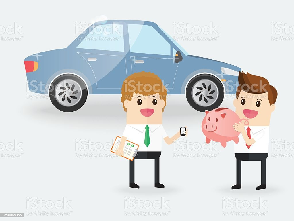 happy businessman holding piggy bank buy new car with saleman vector art illustration