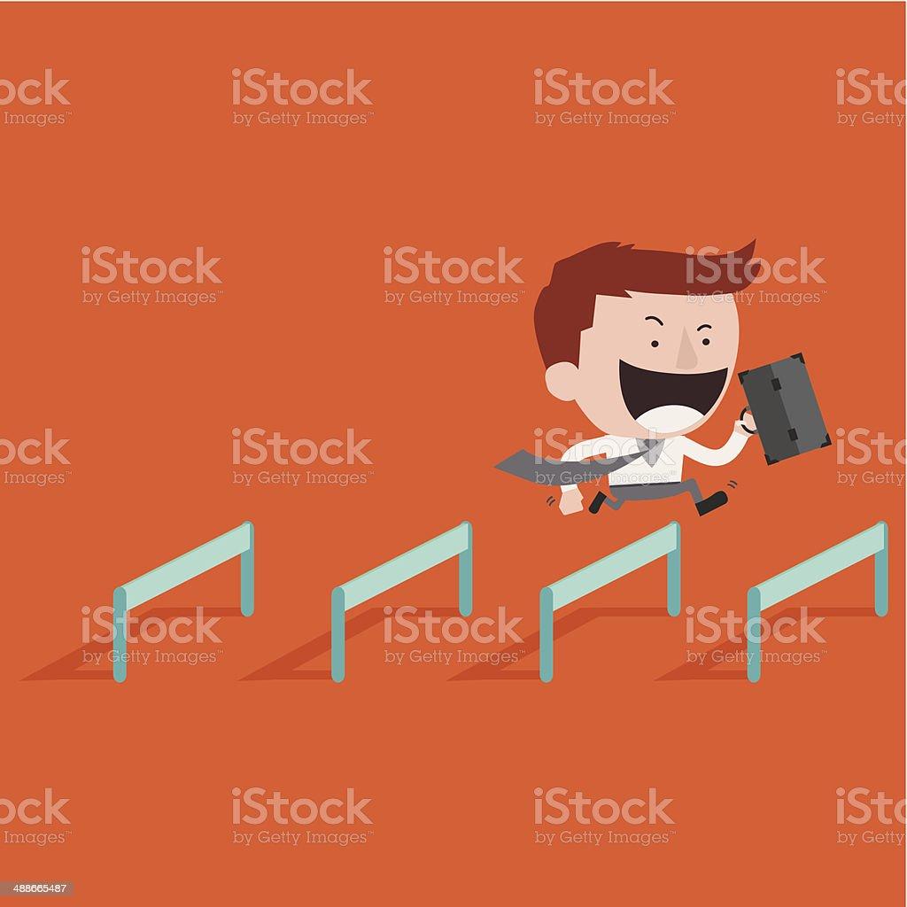 Happy businessman Jump Over Hurdle vector art illustration