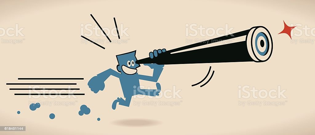 Happy Businessman Looking Through An Hand-Held Telescope And Running vector art illustration