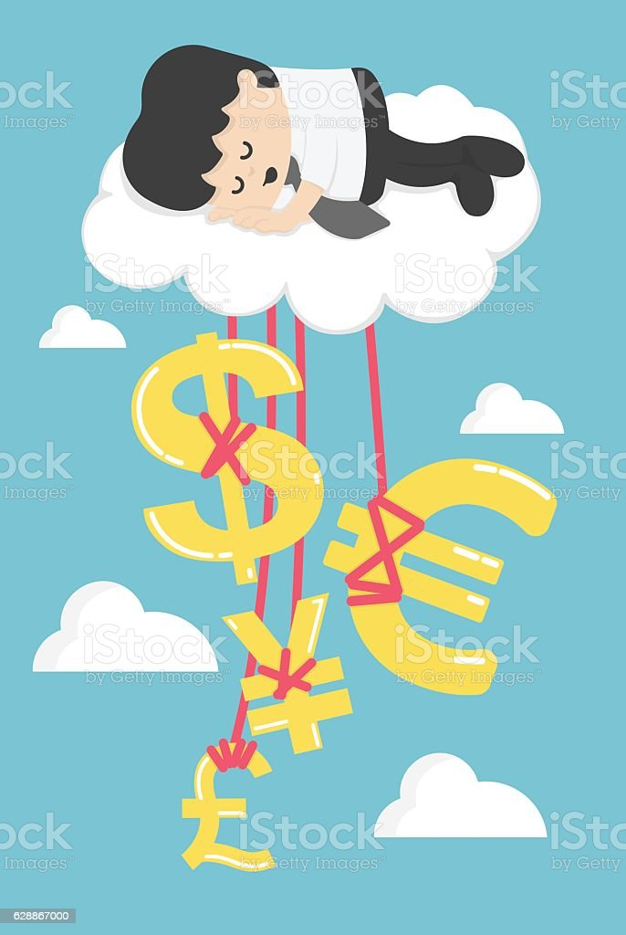 Happy Businessman on a Cloud thinking money and successful vector art illustration