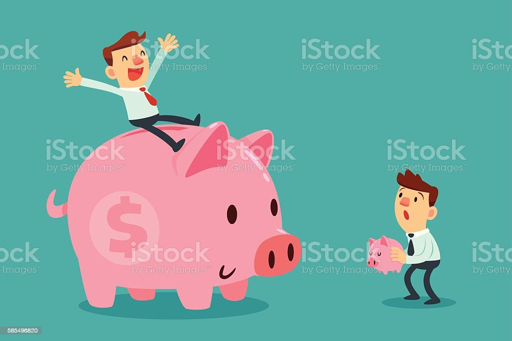 happy businessman on his large piggy bank and another businessma vector art illustration