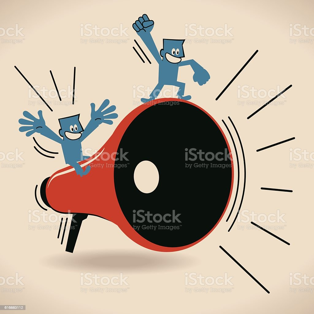 Happy businessman on megaphone, excited by good news vector art illustration