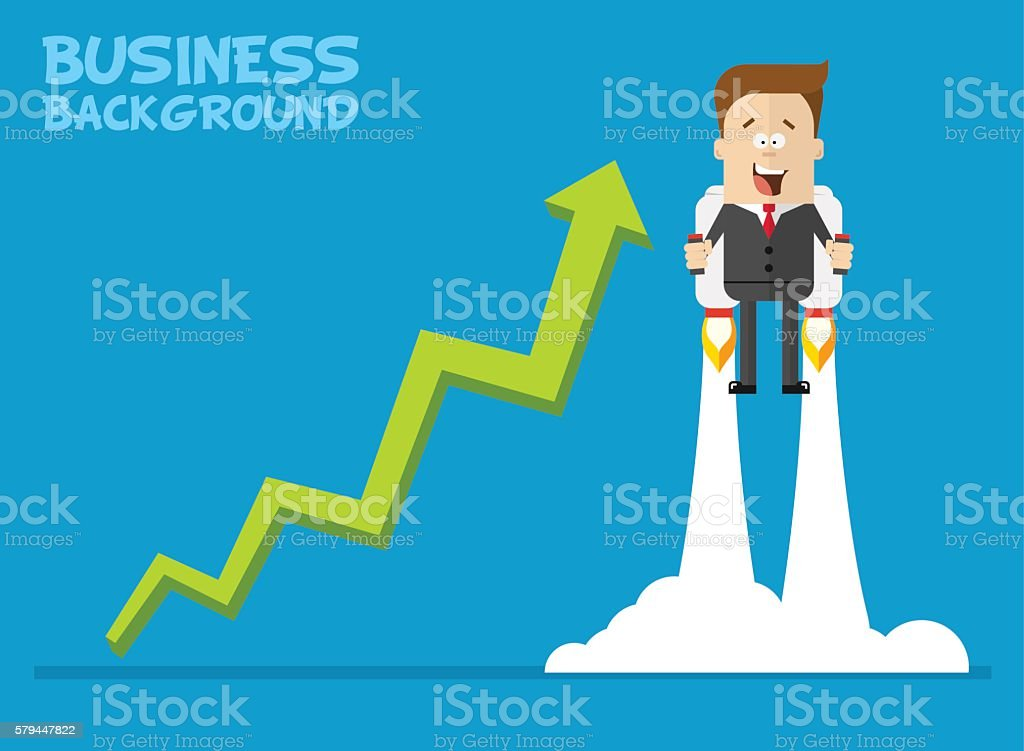 Happy businessman or manager flying on jetpacks to his goal vector art illustration