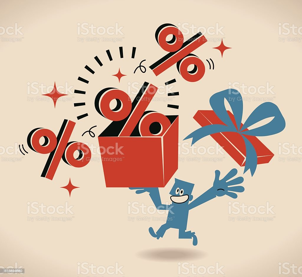 Happy businessman running carrying a gift box with Percent symbol vector art illustration