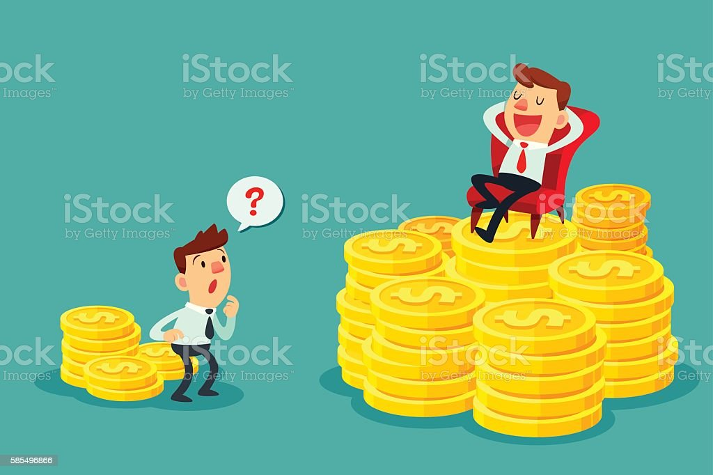 happy businessman sit on stack of gold coins-investment concept vector art illustration