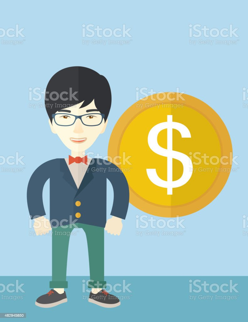 Happy businessman standing with a big dollar coin beside him vector art illustration