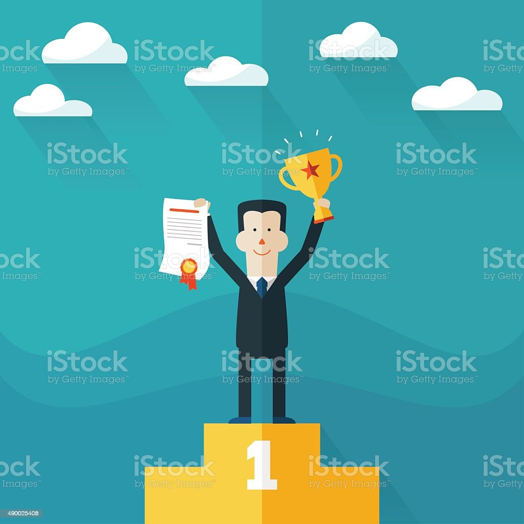 Happy businessman stands on pedestal with award certificate and trophy vector art illustration