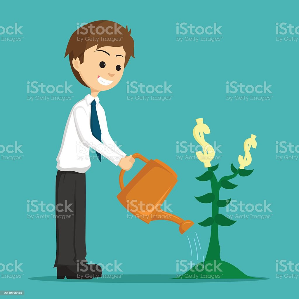 Happy Businessman Watering Or Growing A Plant Of Money vector art illustration