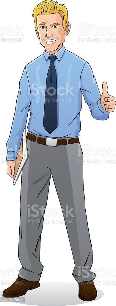 Happy businessman with documents vector art illustration