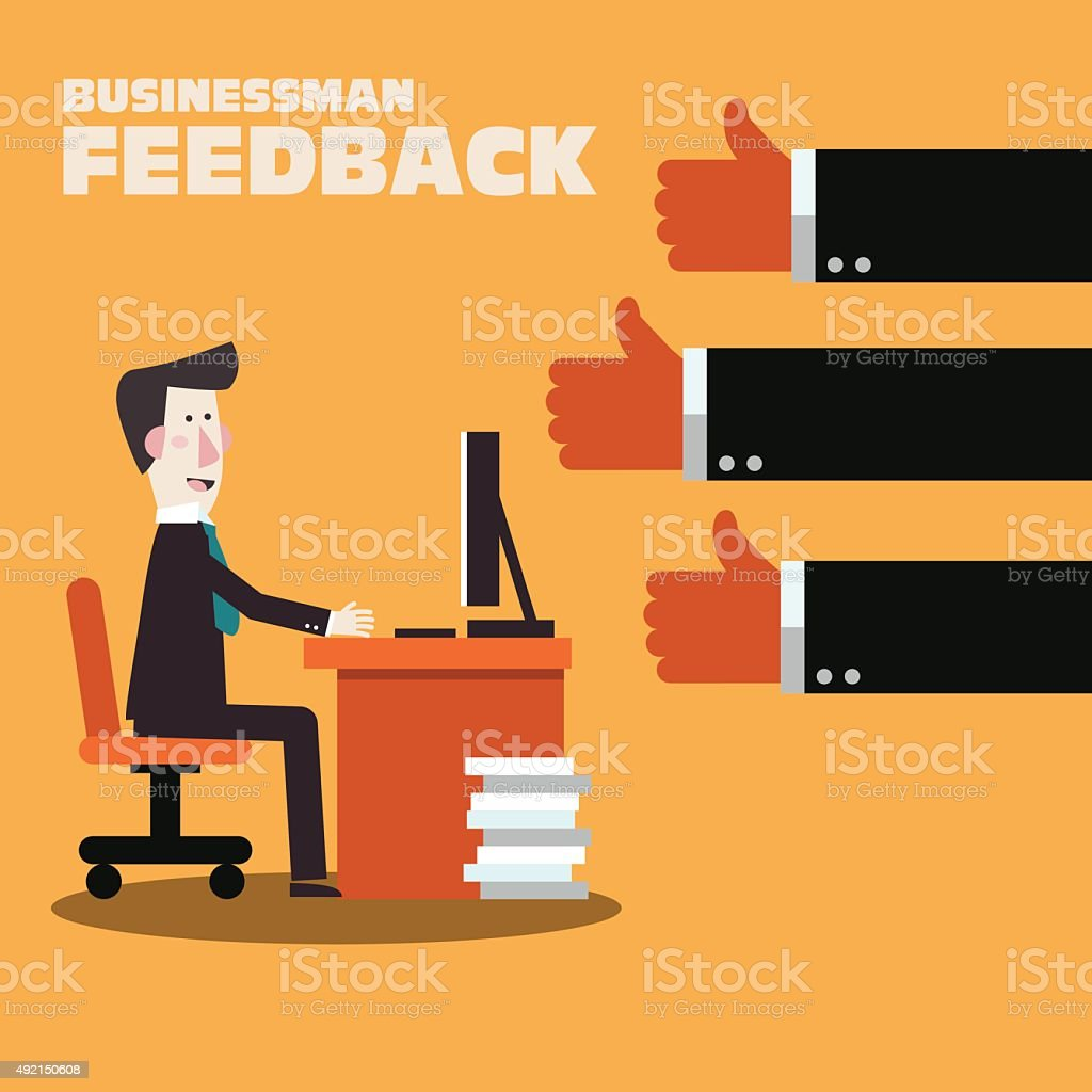 Happy businessman working in office at computer. Businessman feedback vector art illustration