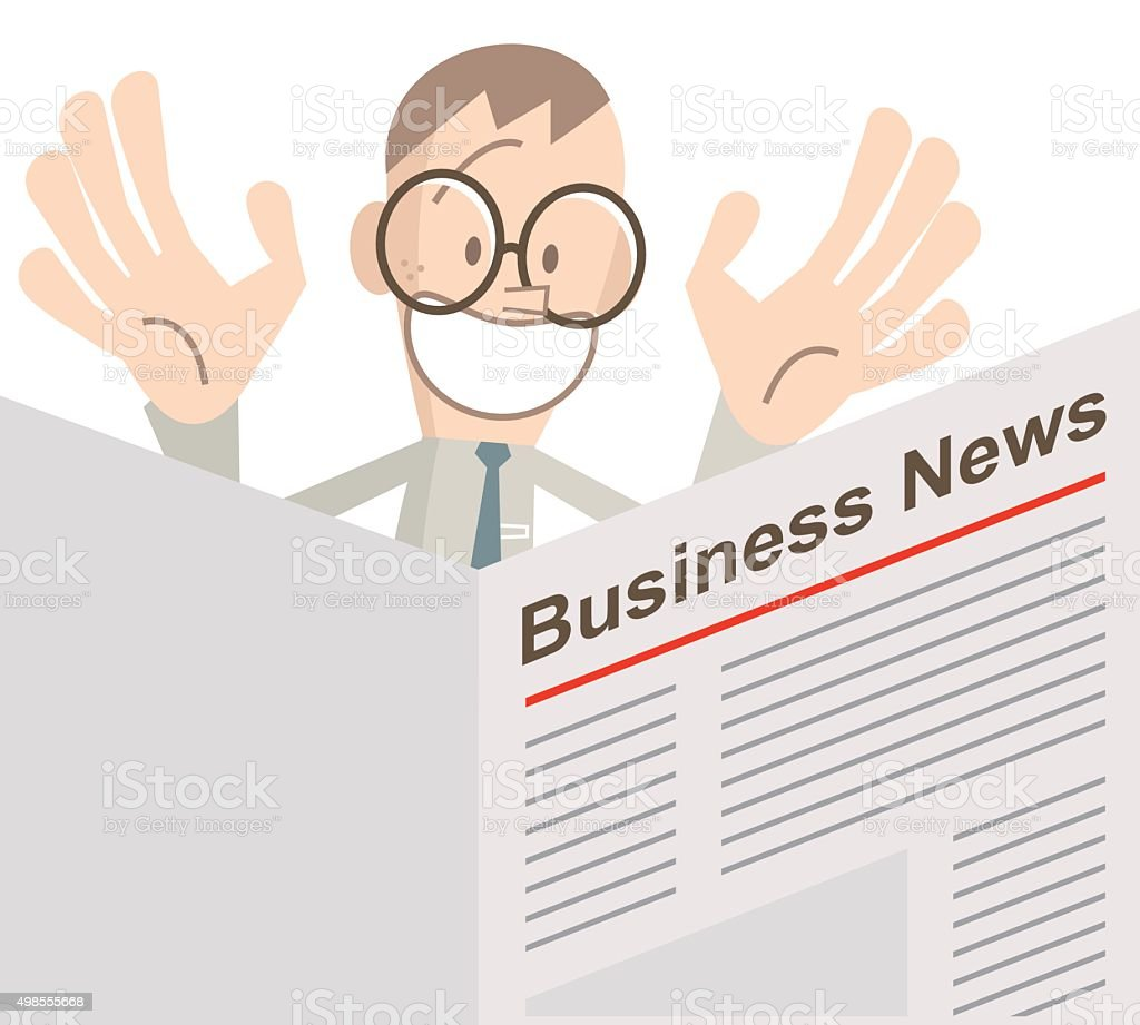 Happy businessmen is reading the newspaper (Business News) vector art illustration