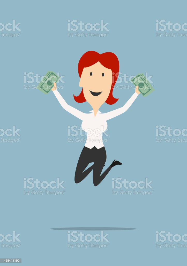 Happy businesswoman jumping with money in hands vector art illustration