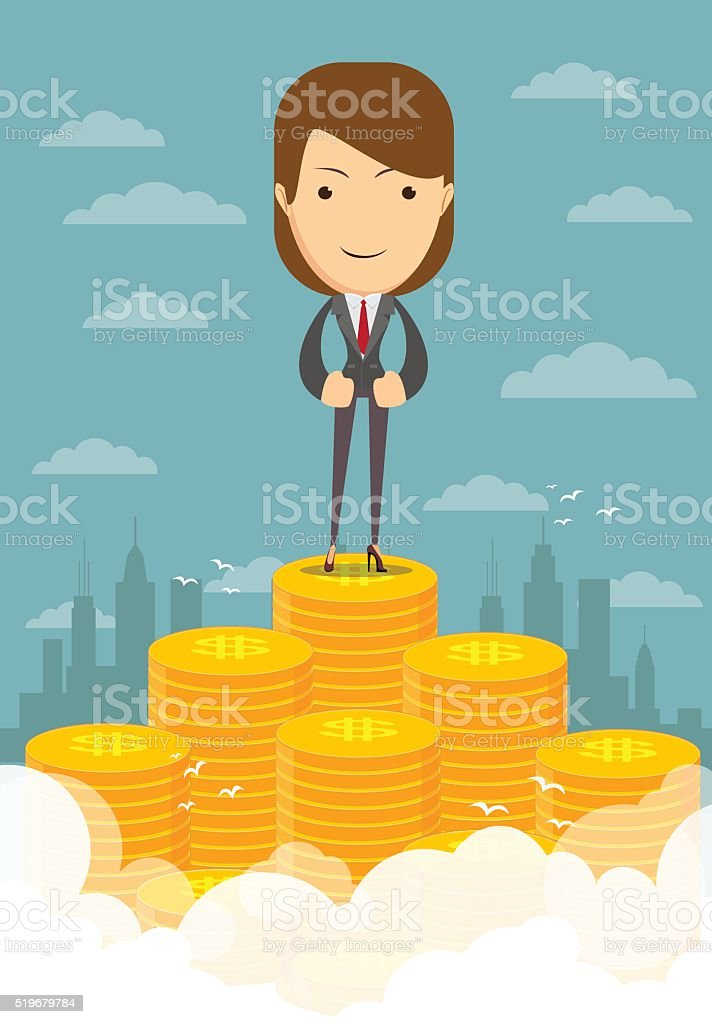 Happy businesswoman raising from pile of money vector art illustration