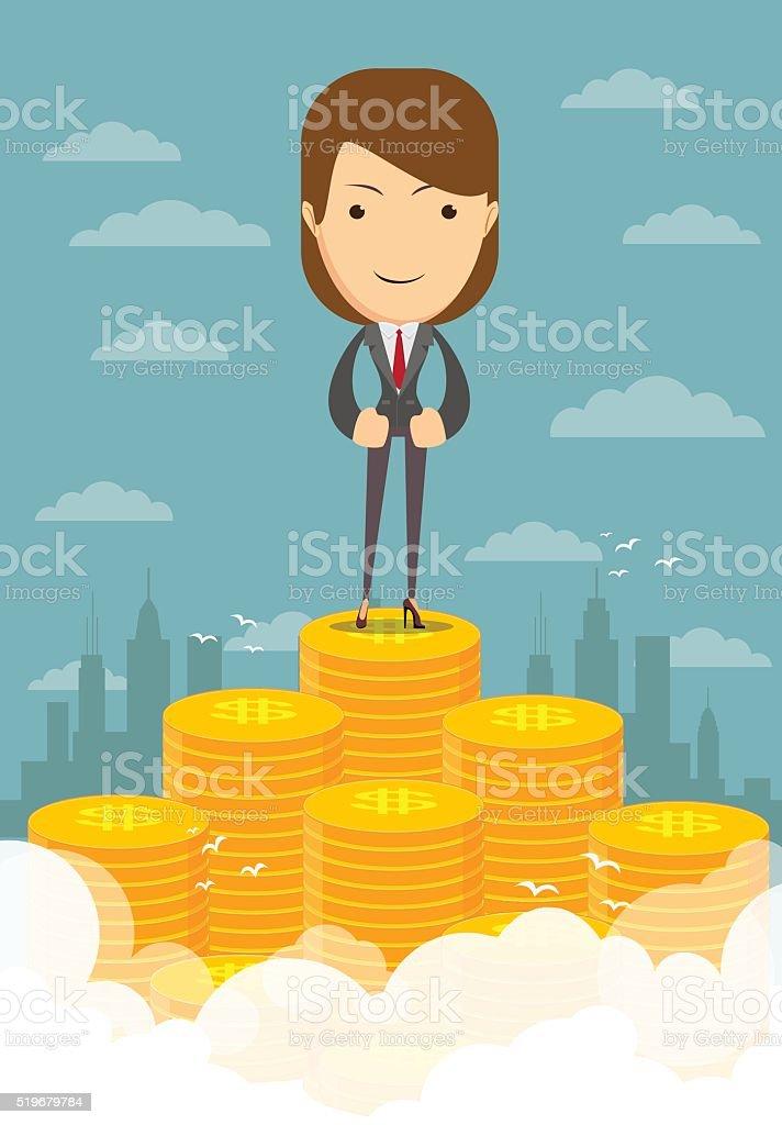 Happy businesswoman raising from pile of money vector art illustration