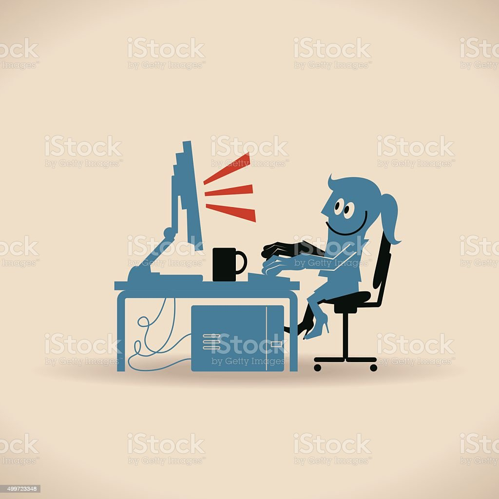 Happy Businesswoman Using Laptop Computer At Desk Sitting On Chair vector art illustration