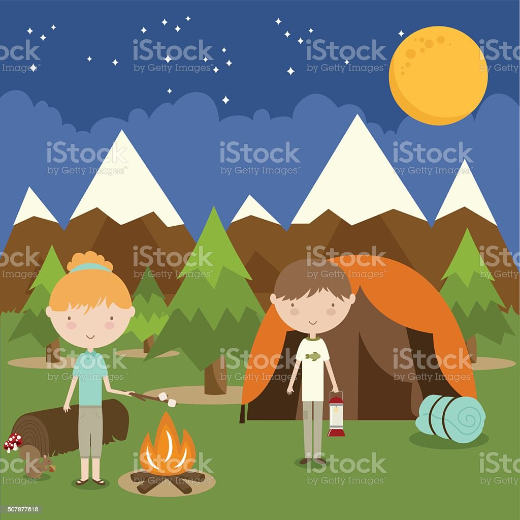 Happy Campers vector art illustration