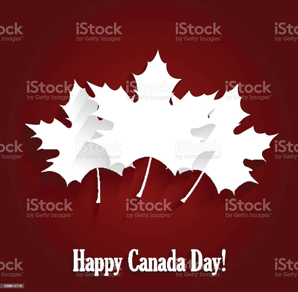 Happy Canada Day poster on red background vector art illustration