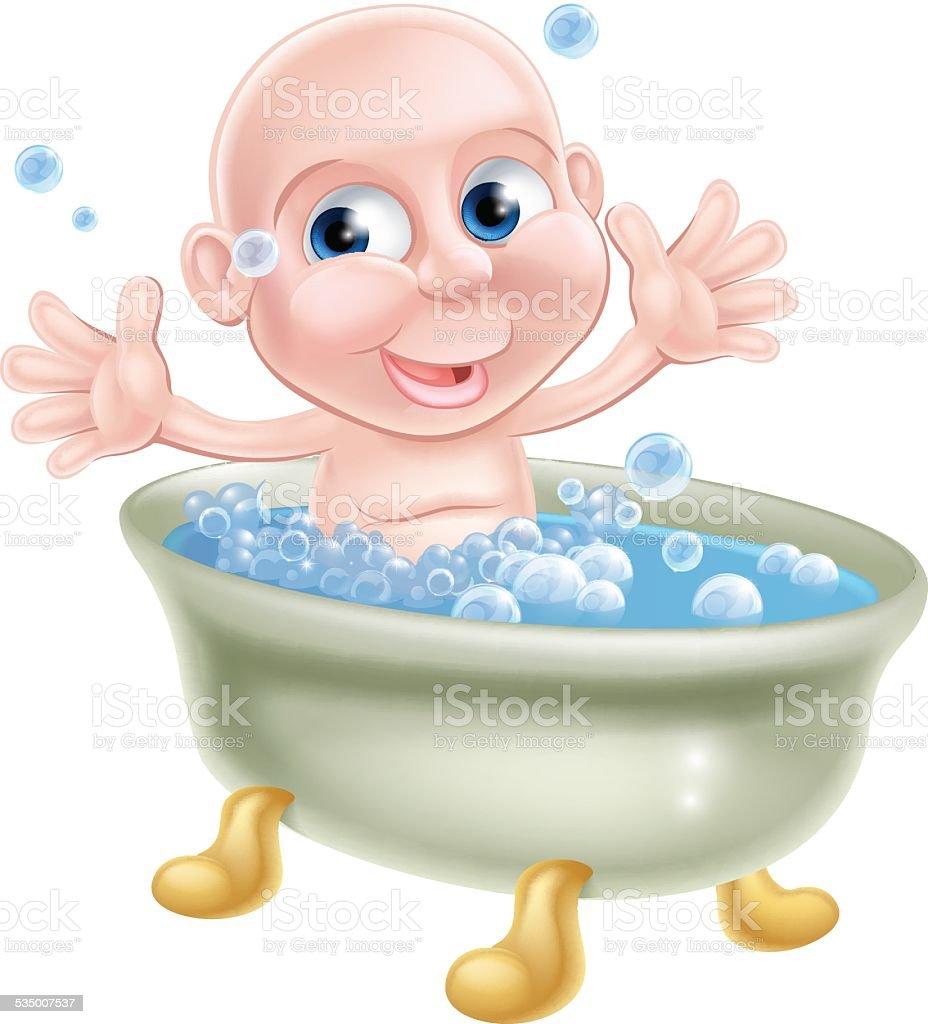 Happy cartoon baby in bath vector art illustration