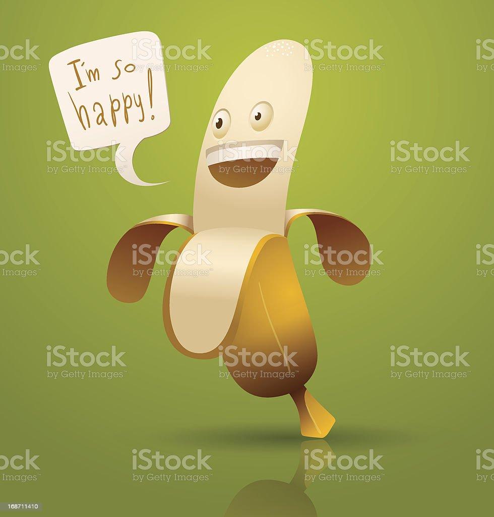 Happy cartoon banana royalty-free stock vector art